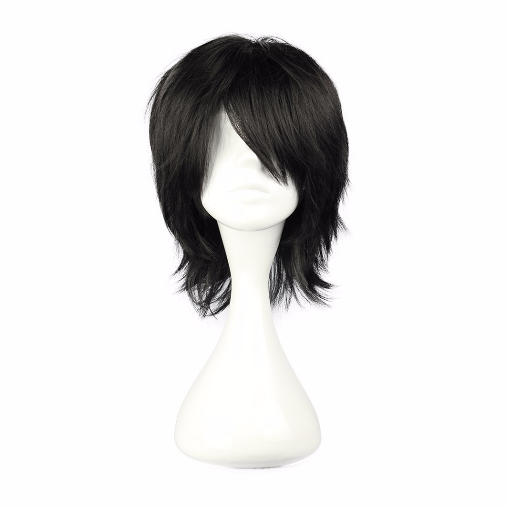 MCOSER 32cm Short Black and Dark blue Color Synthetic Cosplay Costume Wig 100% High Temperature Fiber Hair WIG-027