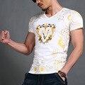 Мода Роскошный Хлопок Мужчины футболка 2016 Лето Новый Короткий рукавом V шеи Печати мужская Футболка Новинка Топы тис Марка одежда