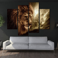 4 Panel Wall Art Brown Fierce Lion Against Stormy Sky Painting The Picture Print On Canvas