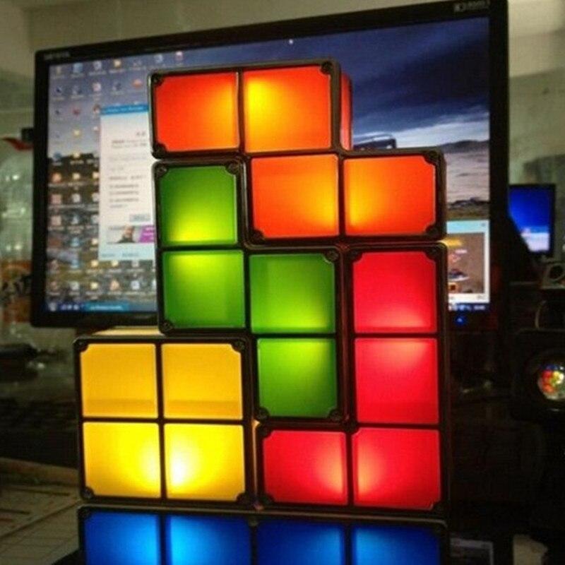 FAI DA TE Blocchi di Tetris Puzzle Luce Impilabile LED Desk Lamp Edificabile Luce LED Giocattolo Gioco Retro Tower Block Bambino NightLight