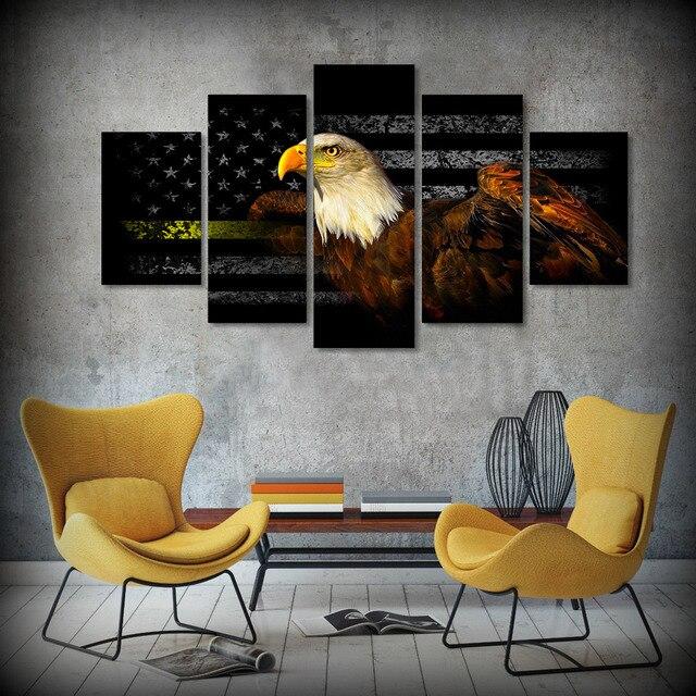 5 unids/set enmarcado HD impreso libertad americana águila bandera ...