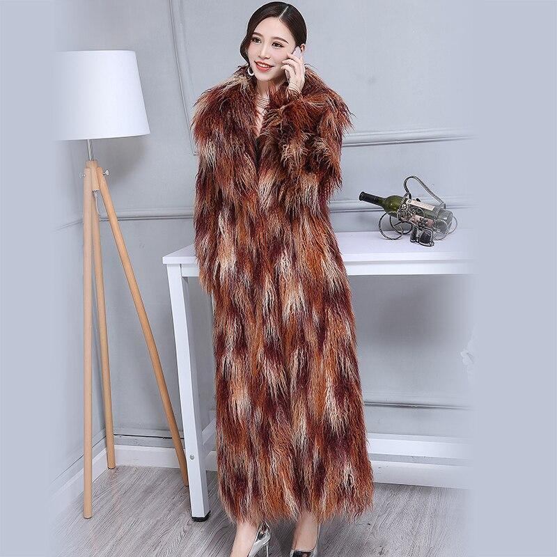 Nerazzurri зима искусственный мех пальто для женщин 2018 Удлиненные Красочные Лохматый волосатые макси плюс размеры Монголия овец 6XL 7XL