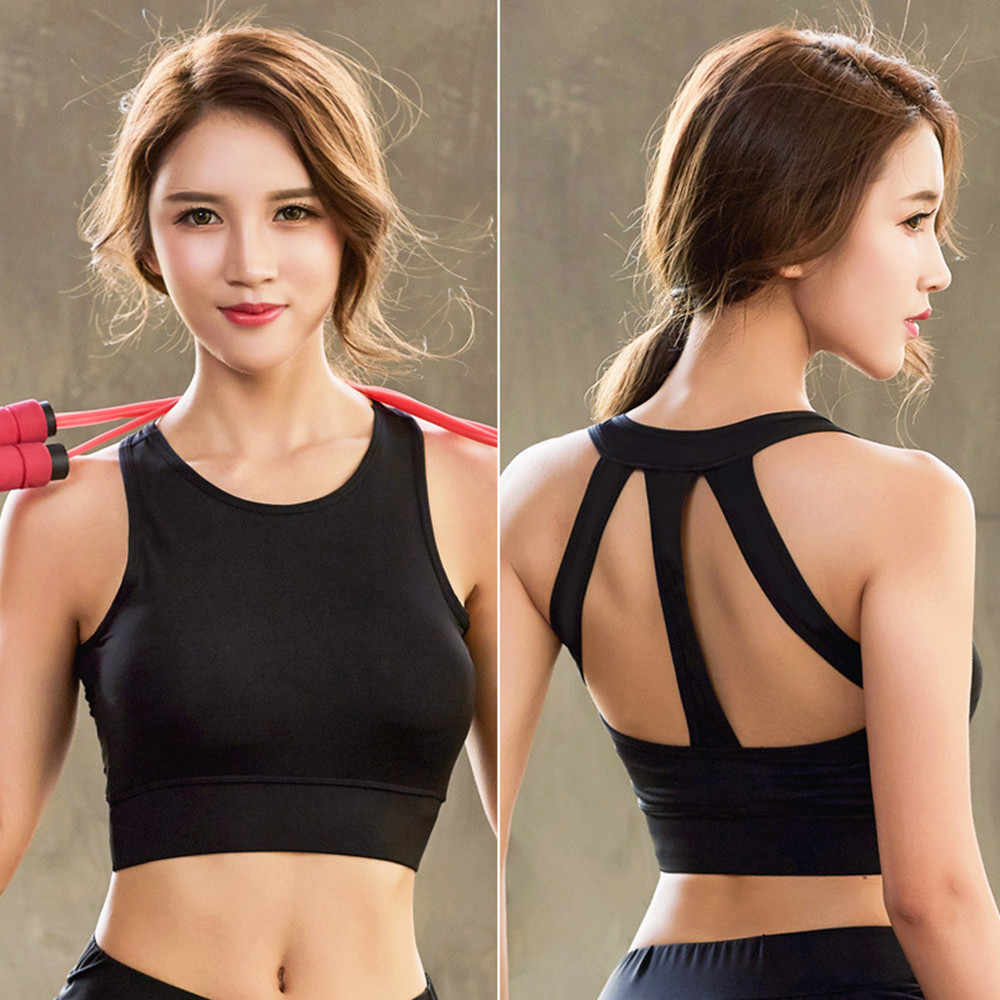 f47014d222b38 ... Professional Women Running Sport Bra No Rims Hollow Out Back Yogo Bra  Vest Quick-Drying ...