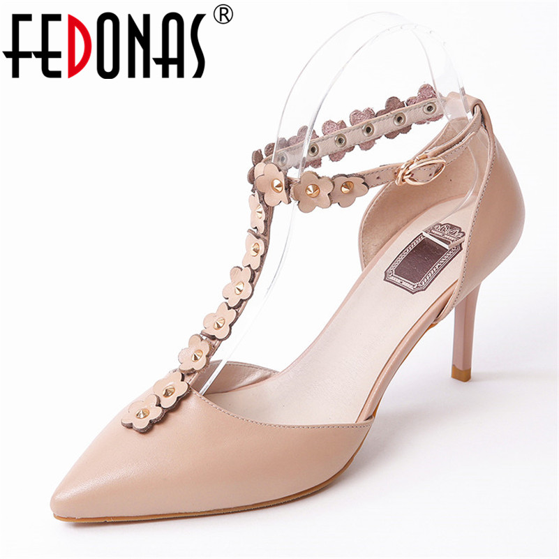 FEDONAS 2018 New Summer Gladiator Sandals Women High Heels Genuine Leather Flowers Sandals Party Wedding Shoes Ladies Sandals 2017 summer genuine leather women sandals rose flowers sweet gladiator cross tied party shoes low square heels pump pink sandal