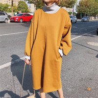 2017 Autumn Winter Casual Contrast Colors Turtleneck Thick Long Women Sweatshirts Dress Back Pockets Patchwork Sweatshirt Tops