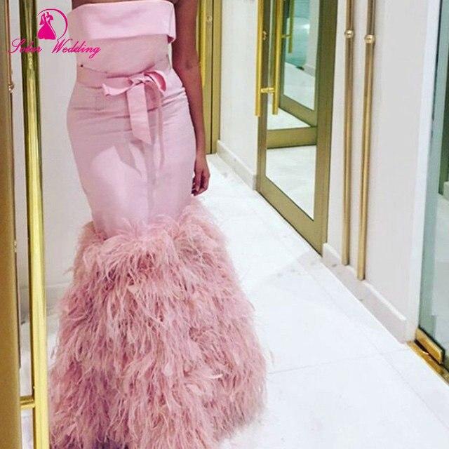 Nuevo diseño de satén rosa sirena pluma del partido de alta calidad ...