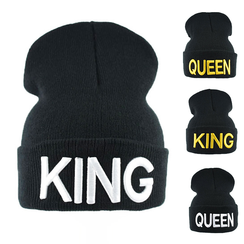 2017 New KING QUEEN   Beanies   Knit cap Couple Winter Caps   Skullies   Bonnet Winter Hats For Men Women   Beanie   Ski Sports Warm Cap
