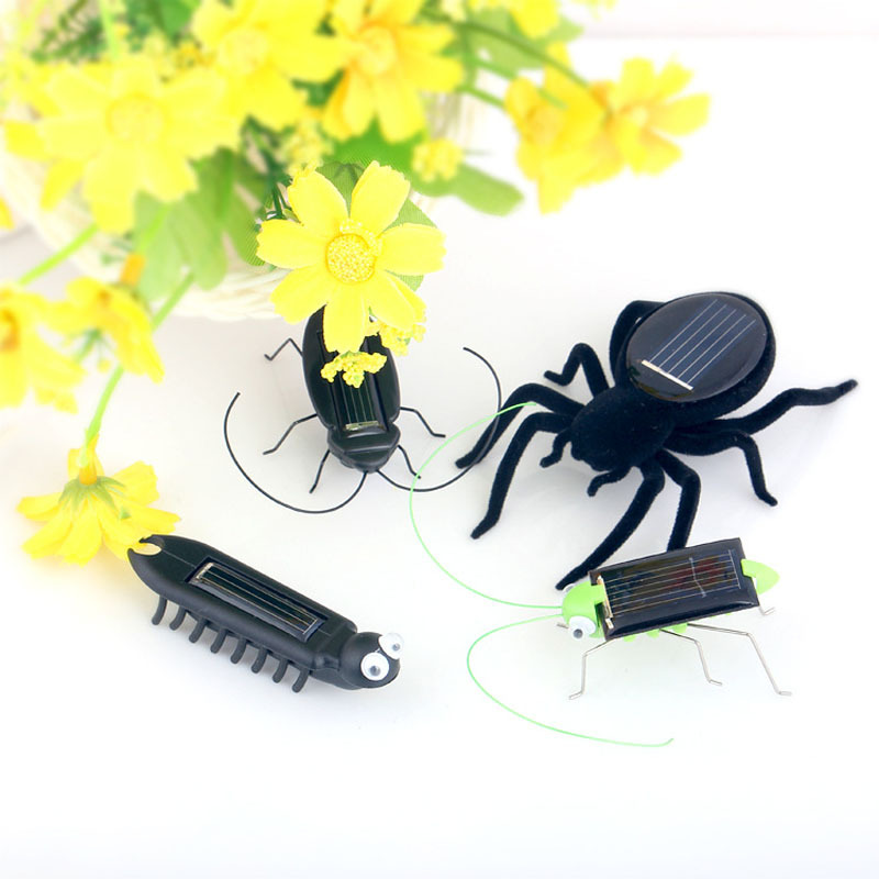 5 style MINI Novelty kid Solar Energy Powered Spider cockroach Power Robot Bug Grasshopper educational gadget Toy for children