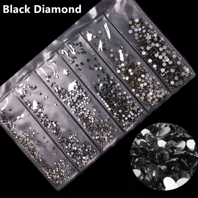 31 цвет, SS3-SS10, разные размеры, Хрустальные стеклянные стразы для дизайна ногтей, для 3D дизайна ногтей, стразы, украшения, драгоценные камни - Цвет: Black Diamond