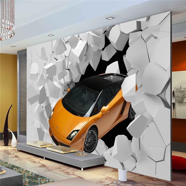 3D 스포츠 자동차 사진 벽지 거대한 벽 벽화 독특한 디자인 벽지 ...
