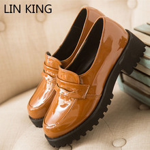 LIN KING Spring Casual Women Pumps Platform wedge PU Leather Lady Lolita Shoes Sweet Slip On Round Toe Low Square Heel Shoes