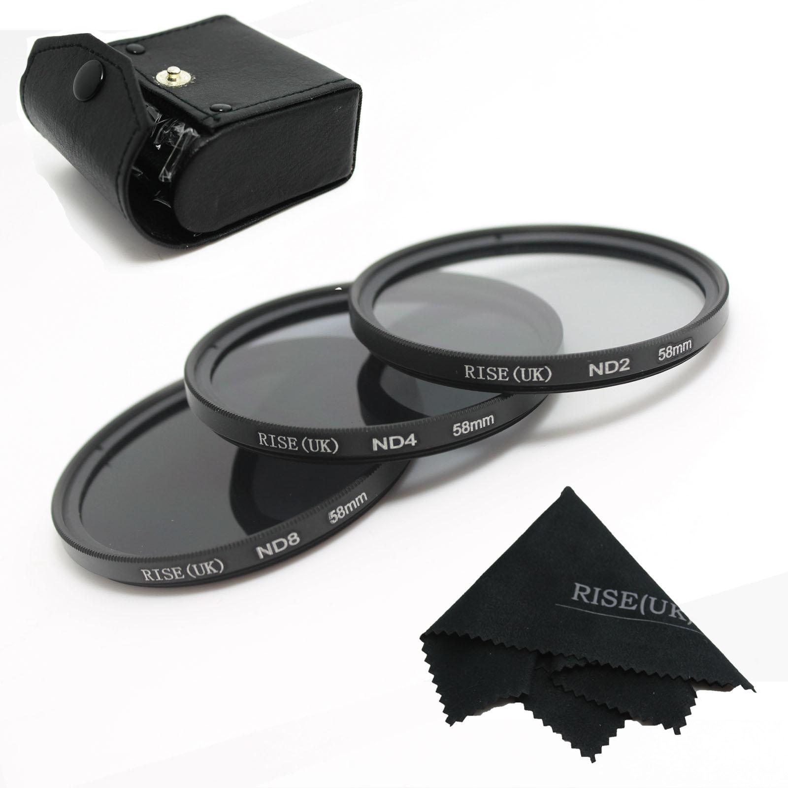 100% GARANTIE Neue 58mm Neutral Density ND2 ND4 ND8 ND 2 + 4 + 8 Filter Set mit fall 58mm Kit Für kamera Dslr-objektiv