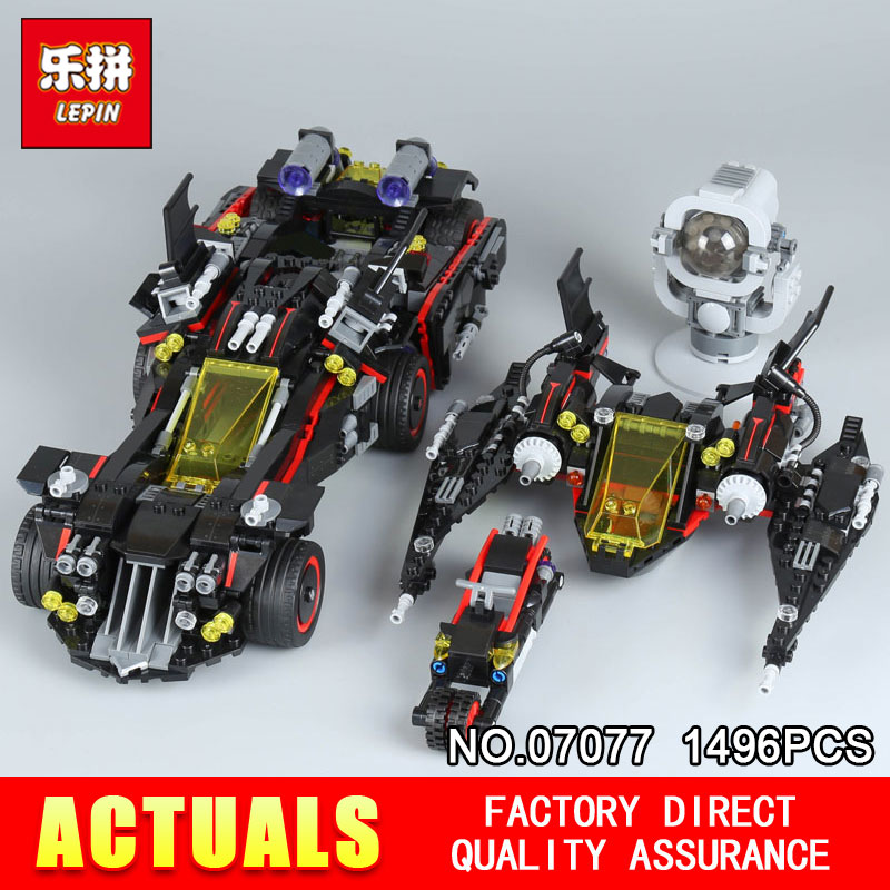 Lepin 07077 1496Pcs Genuine Batman The Movie Series The Ultimate Batmobile Set Educational Building Blocks Bricks Model 70917 new 1628pcs lepin 07055 genuine series batman movie arkham asylum building blocks bricks toys with 70912 puzzele gift for kids