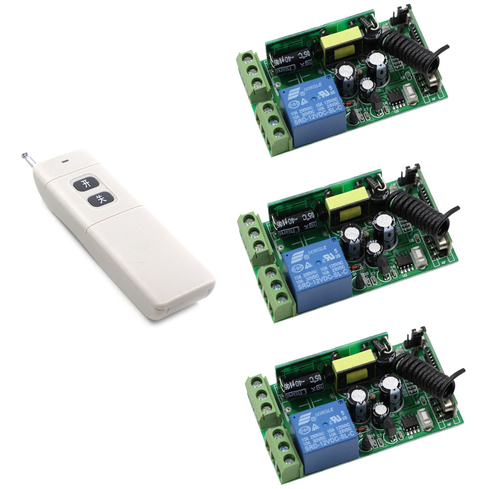 AC 85V-250V Wireless Remote Control Light Switch 110V 220V 1CH Relay Switch 3 X Receiver + Long Range Transmitter 315/433Mhz 85v 250v remote relay control switch 8ch receiver