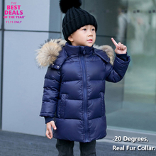2-14Y Children Winter Coat 90% White Duck Down Boys Jackets Big Real Fur Hooded Girls Kids Clothes