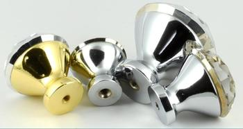 Diamond Crystal Glass Cabinet Knob Cupboard Drawer Pull Handle Kitchen Cabinet Door Wardrobe Handles Hardware Wholesale