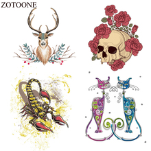 ZOTOONE Iron on Cat Skull Patches Applications For Kids Clothing Stickers Applique Bag Heat Transfer Vinly DIY Decoration E
