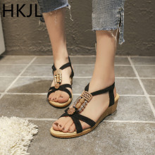 HKJL New 2019 wedges and peep-toe suede sandals for women ethnic style beaded low-heeled A126