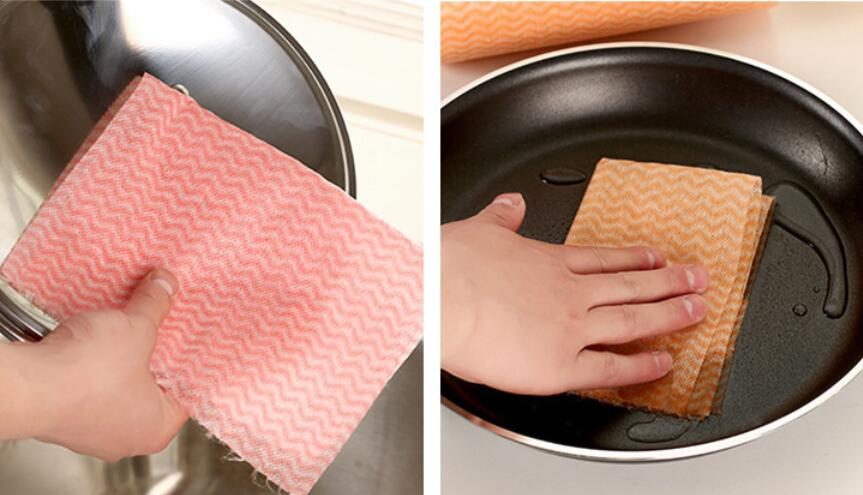 50 Pcs/Roll Eco-Friendly Non Woven Duster Cloth Dish Cloth Break Point No Oil Rag Furniture Kitchenware Cleaning Prouct F1687