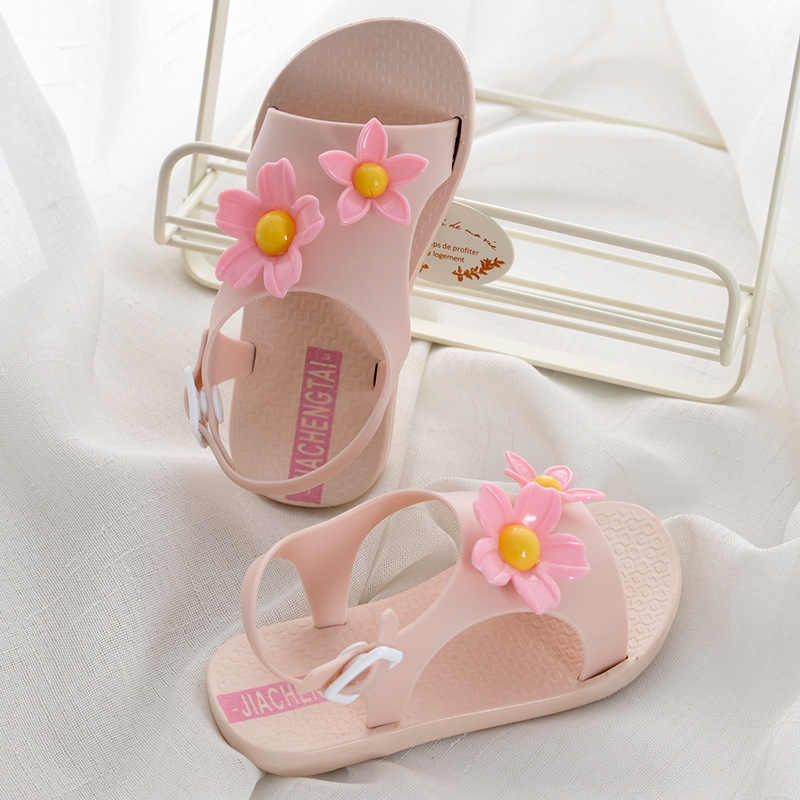 2019 Yeni çocuk sandaletleri Kızlar için Ayakkabı Yaz Plaj Güzel Çiçekler Bebek Kız Sandalet Sevimli Çocuk Ayakkabı 1-5years Pembe Turuncu
