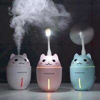 3 in 1 320ML USB Air Humidifier Ultrasonic Cool-Mist Adorable Pet Mini Humidifier With LED Light Mini USB Fan Humidifiers