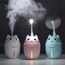 3 in 1 320ML USB Air Humidifier Ultrasonic Cool-Mist Adorable Pet Mini Humidifier With LED Light Mini USB Fan