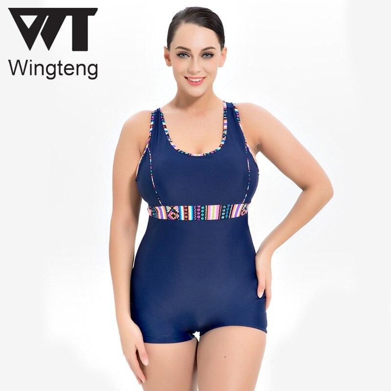 Wingteng One Piece Swimwear Female plus size 8XL push up Bikini Set Large Swimsuit Fused Tankini Bathing Suit Swim Wear monokini