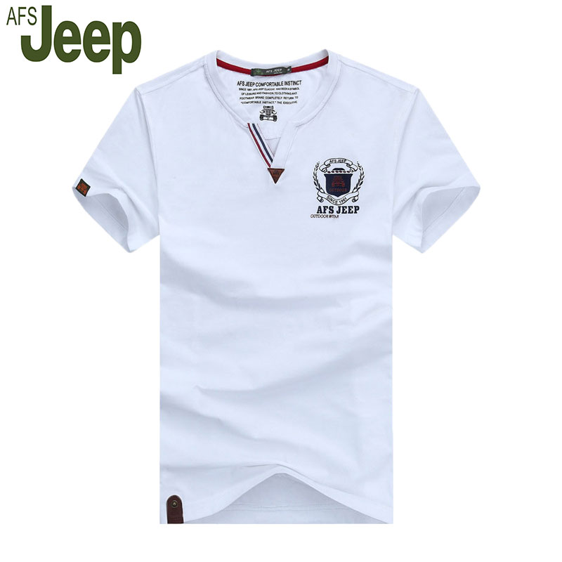 2016 AFS JEEP Battlefield Jeep men s short sleeved T shirt casual fashion v neck T