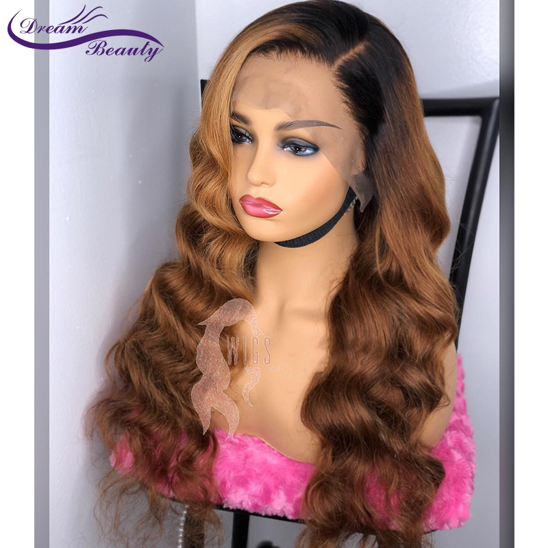 Ombre Glueless Human Hair Lace Front Wig 180% Brazilian Remy Wavy Hair Ombre Highlights Color PrePlucked Hairline Dream Beauty