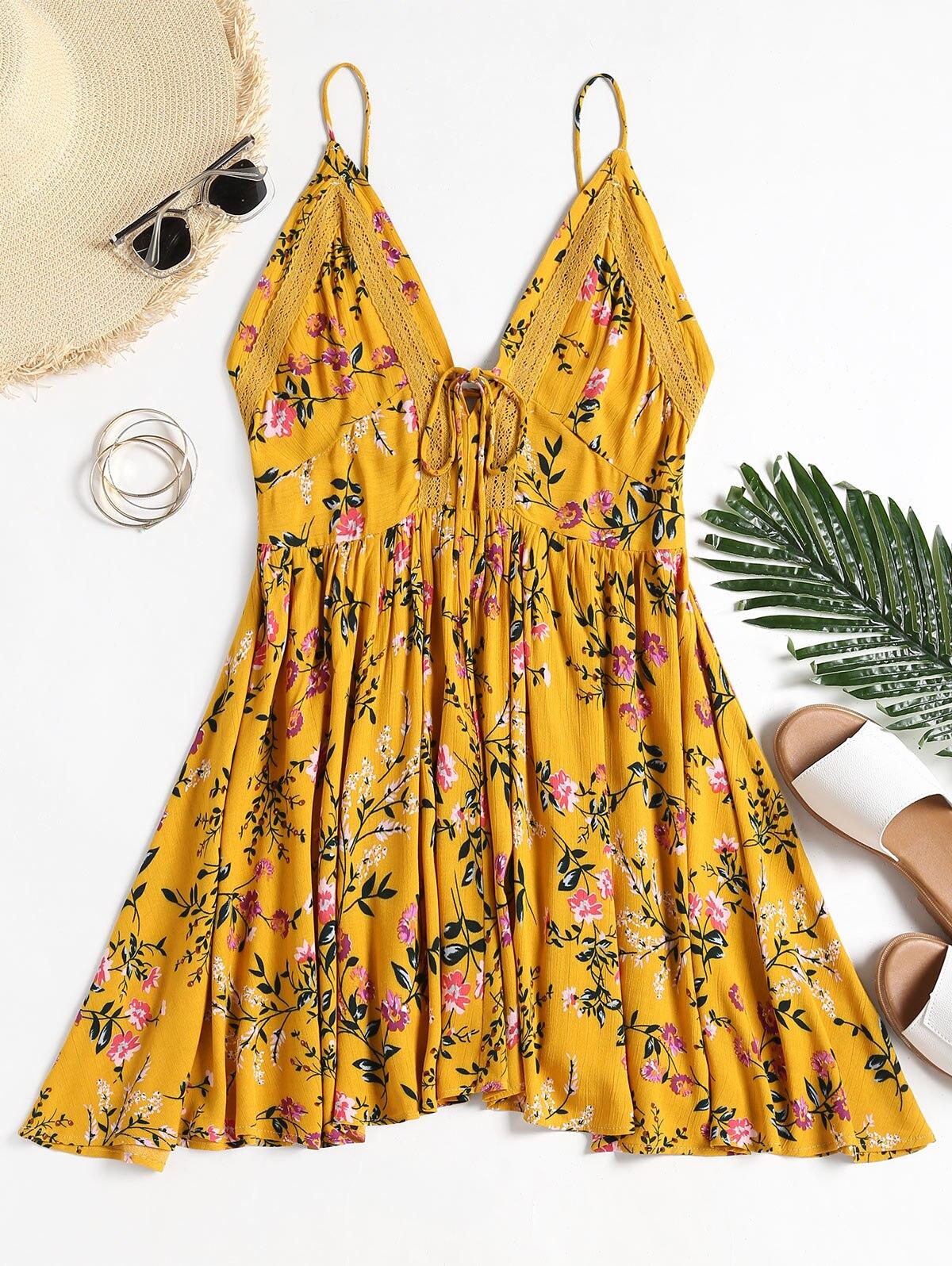 Azulina Women Dress Crochet Insert Backless Floral Cami Dresses 2018