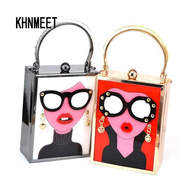 Bolso de noche de acrílico blanco de lujo de marca para mujer divertido lindo bolsos de mano gafas para chicas cadena día embrague Vintage rojo Mini bolso de fiesta