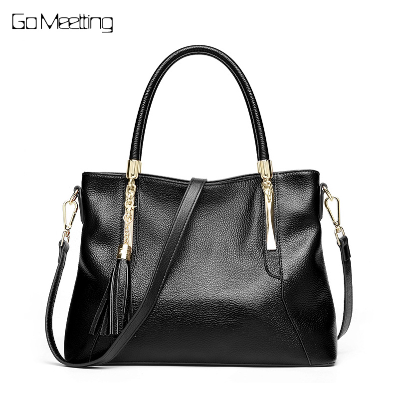 Go Meetting New Fashion Soft Real Genuine Leather Tassel Women Handbag Elegant Ladies Hobo Shoulder Bag Messenger Purse Satchel f 7382 new women satchel bag fashion tote messenger leather purse shoulder handbag hobo
