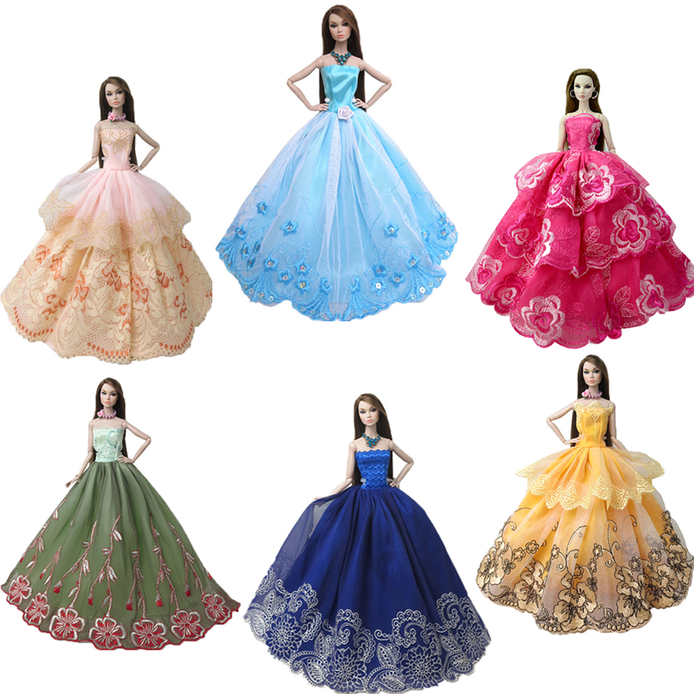 NK Newest 2019 Fashion Princess Doll Wedding Dress Noble Party Gown For Barbie Doll Accessorie Fashion Design Outfit  Gift JJ