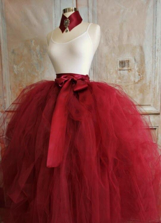 Burgundy Red Ball Gown Tulle Skirt Full Length Custom Made Maxi Tutu Skirt  Super Puff Wedding Long Skirt For Formal Party Saias-in Skirts from Women s  ... e21395b25df0