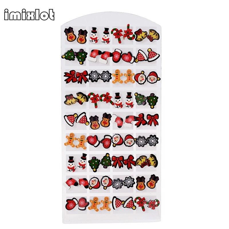 2019 Boucles D'oreilles De Noël Vente Coréenne Mode Femmes Mignon Boucles D'oreilles Mix Lot Mini Brincos Pequenos 36 paires/lot