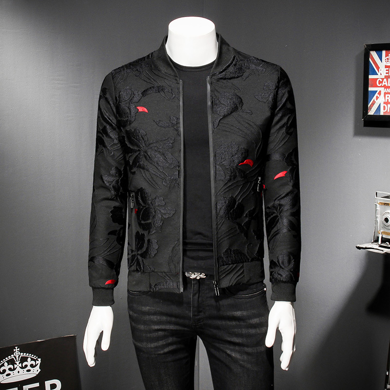Puff Jacquard Black Bomber Jacket Men Spring Autumn Men Casual Jacket Coat Flower Slim Fit Pattern Bomber Jacket Men 5xl