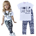 summer girls clothing sets 2017 new fashion I WOKE UP LIKE THIS letter t shirt+pants 2pcs girl clothing set baby girl clothes