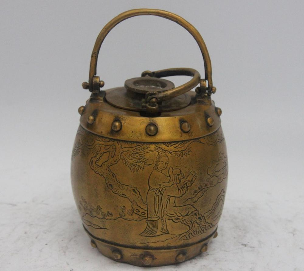 Chinese Bronze Copper carving beautiful women court lady teapot kettle wine potChinese Bronze Copper carving beautiful women court lady teapot kettle wine pot
