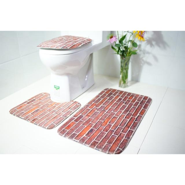 3pcs Shower Mat Absorbent Printing Non Slip Bathroom Rug Bath Toilet Lid Cover