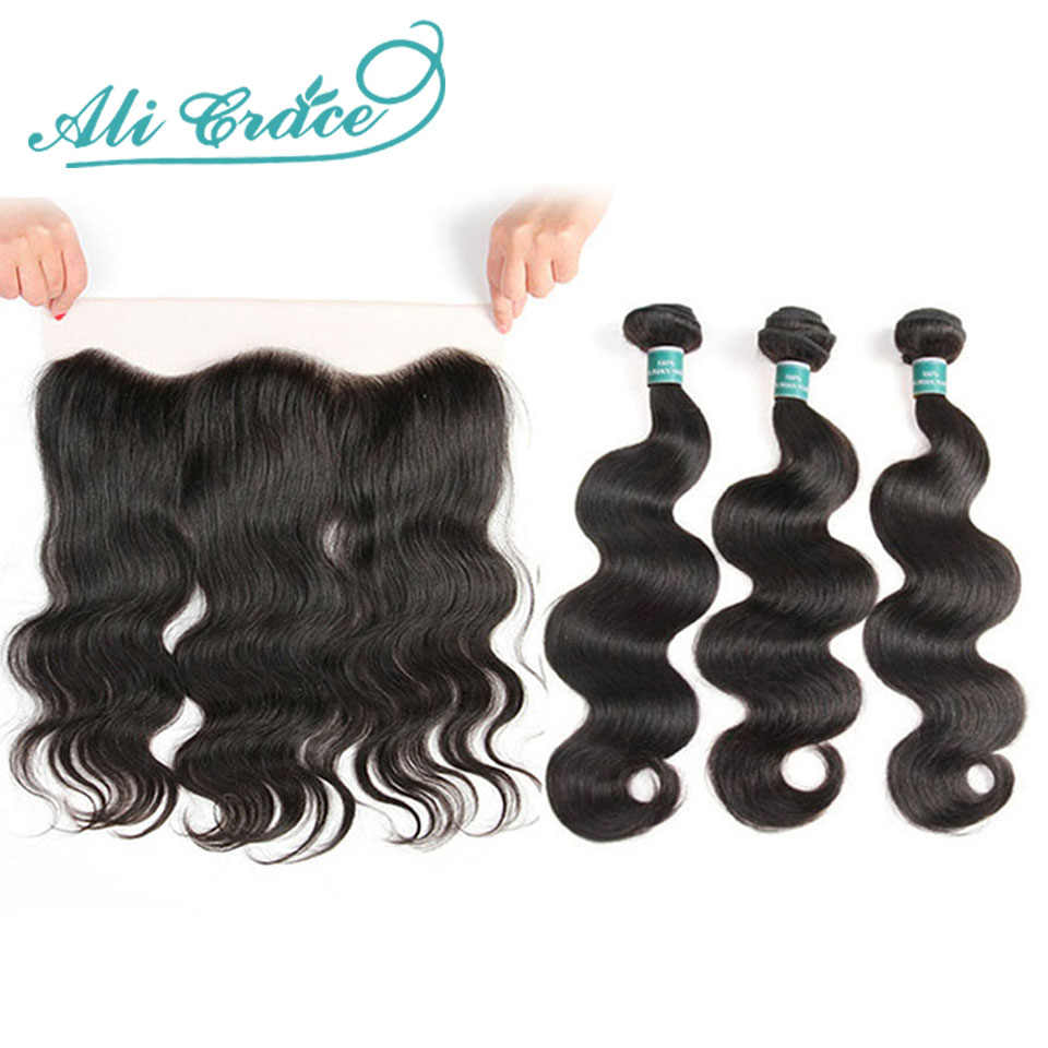 Ali Grace Hair Brazilian Body Wave With Closure 3 Bundles Remy Human Hair With 13*4 Free Part Ear to Ear Lace Frontal