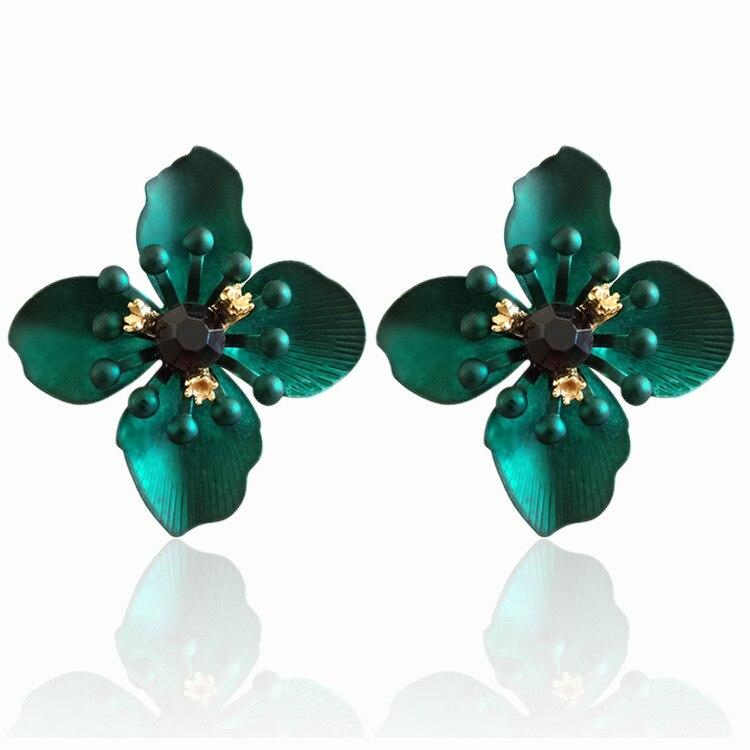 Rainbery Korean Style Alloy Flower Stud Earrings for Women Girls Metal Floral Stamen Ear Studs Earing Brincos Fashion Jewelry