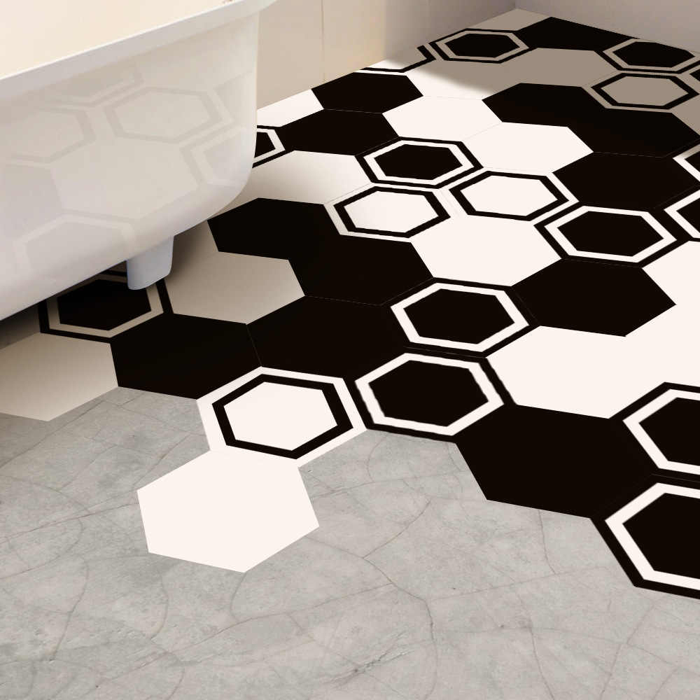 Detail Feedback Questions About Funlife Floor Stickers Wall Sticker Black White Modern Tile Decal Home Decor Anti Slip For Bathroom Kitchen