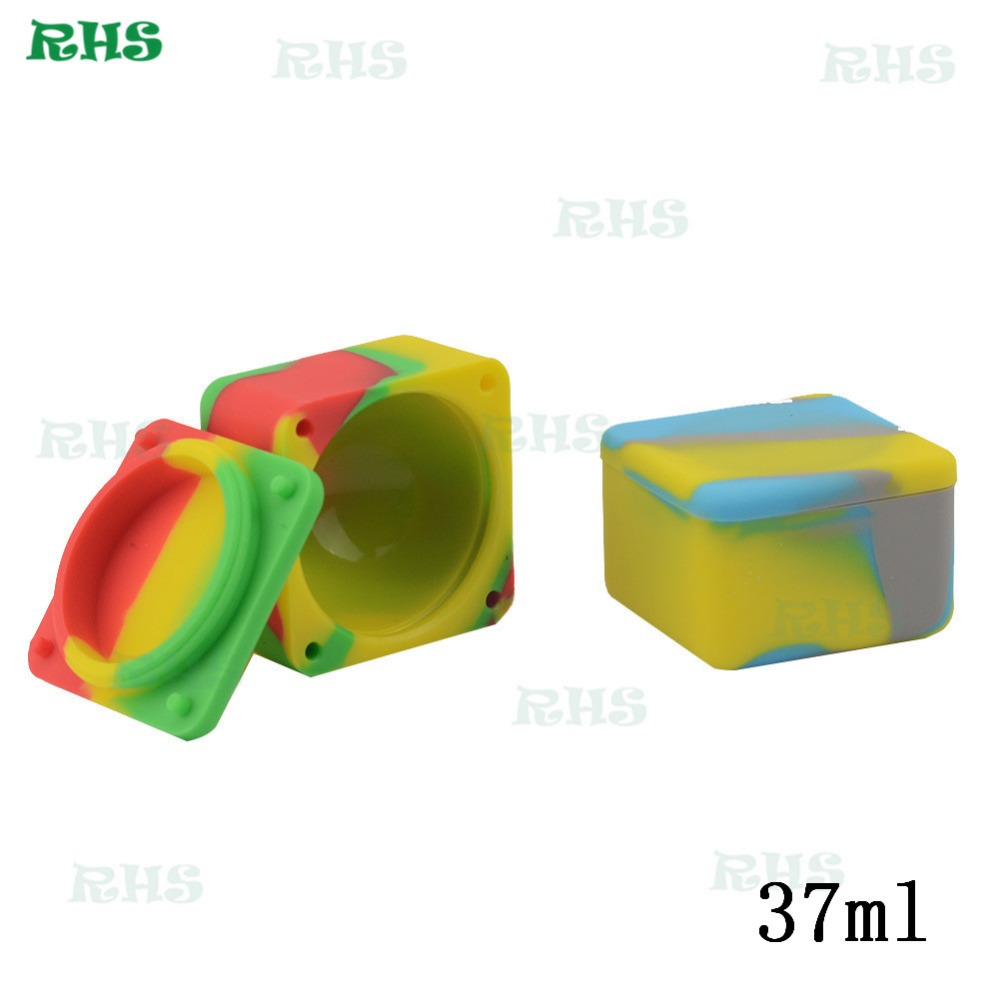 10pcs Square Shape Silicone Container 37ml Food Grade Silicone Wax Jars Dab Container Storage Jar Oil