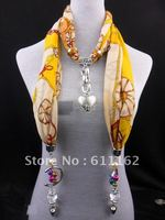 2013 Scarf Jewelry Colour Jewel Pendant With Jewellery Soft Cotton Scarves Charms Necklace Beads Free Shipping