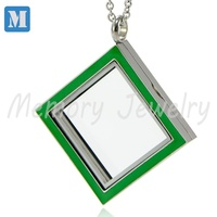 Newest Arrival 316L Stainless Steel Green Enamel Square Floating Locket Wholesale Locket Pendant