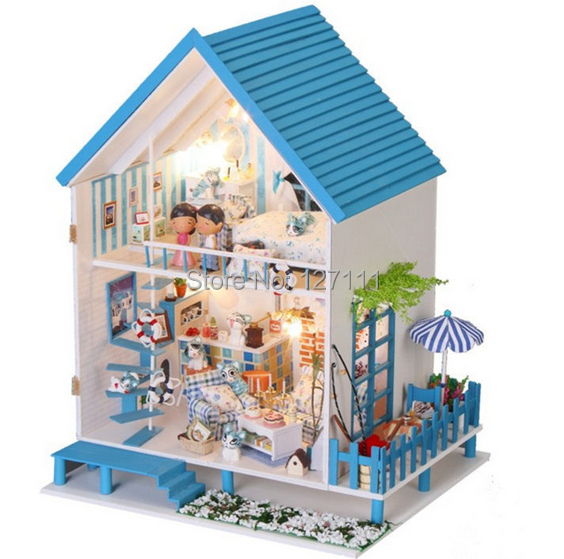 ФОТО Free Shipping  DIY Model Assemble Villa Doll Home/ children toy Doll House/ Wooden Miniature Dollhouse casinha de boneca