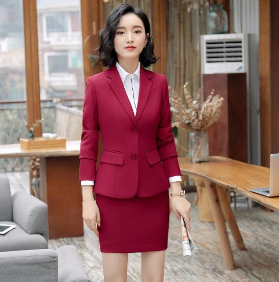 2018 New Fashion women suits long sleeve business elegant office work wearing blazer+skirt women clothing sets solid red black