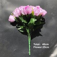 หุ้นล่าสุดข้อเสนอพิเศษ18หัวกุหลาบพวงตกแต่งดอกไม้ประดิษฐ์ดอกไม้งานแต่งงานหรูหราสีชมพูผ้...