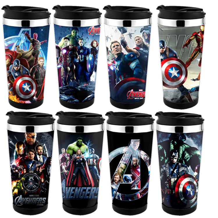 Free Shiping  450ml 16oz The Avengers Mug , Captain America Travel Mug  Adversing Mug Easy For DIY , Can Design  Mug For Gift ,