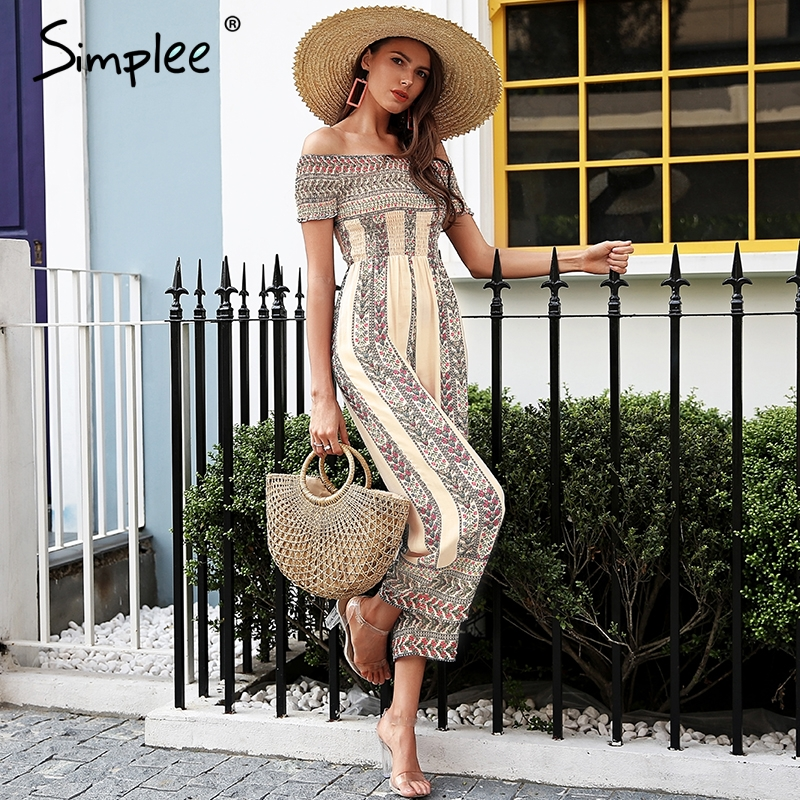 5f1509b8e0a9 Simplee Off shoulder ethnic print jumpsuit romper women Smocking wide leg  jumpsuit summer Streetwear casual jumpsuit